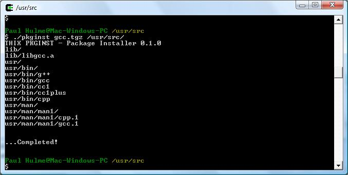 pkginst 0.1.0 WIN/CYGWIN Screenshot
